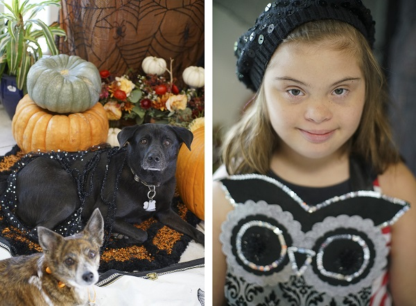 cute girl and her dogs ready for Howl-O-Ween Party