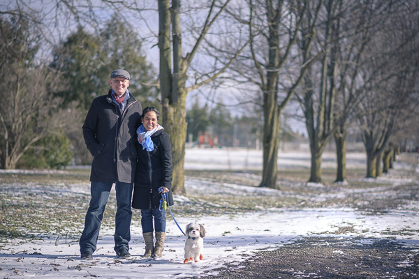 winter family photo with dog