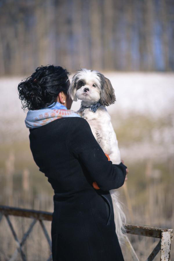 woman holding small dog, winter dog portraits