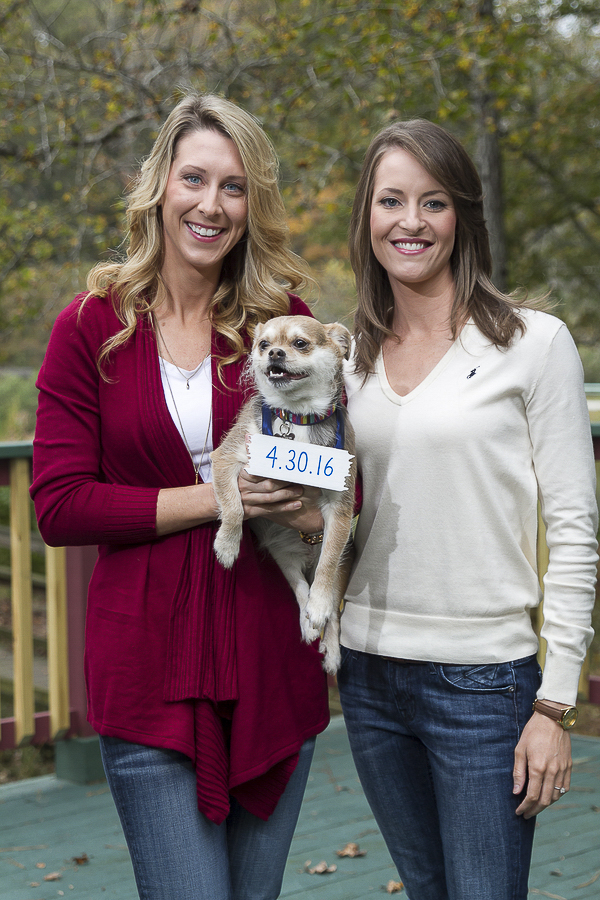 engagement photos, women and their dog wearing Save the date sign