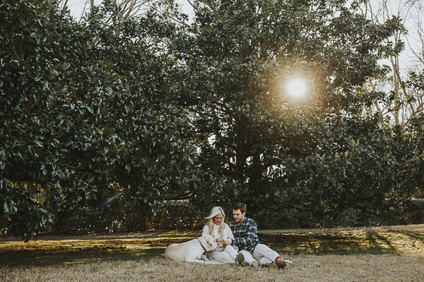 winter sunset engagement photos with dog, Memphis, TN