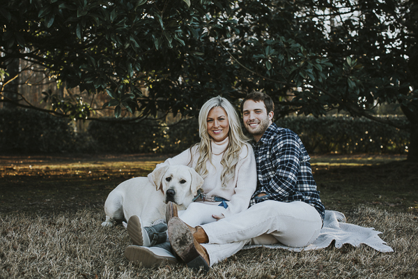 couple and Lab sitting on blanket, ideas for including dog in engagement pictures
