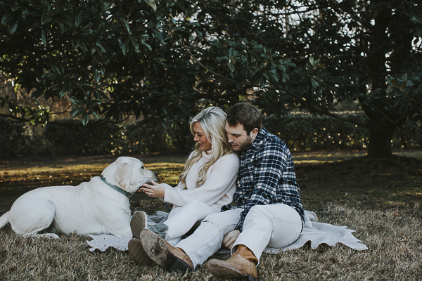 English Lab looking at couple, engagement portraits with Lab