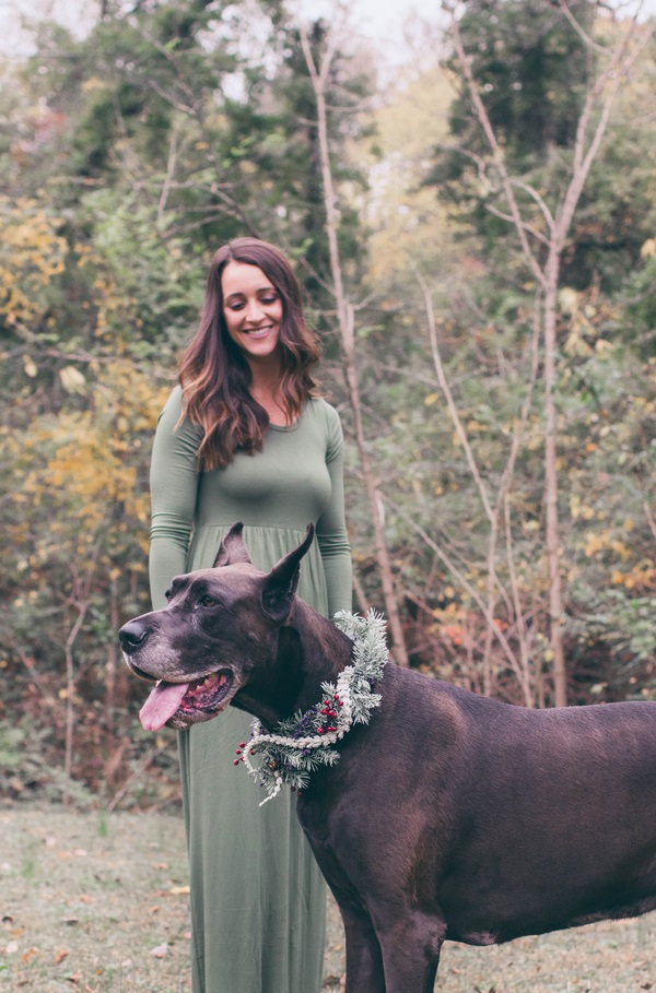 Great Dane with Christmas wreath-collar, woman wearing long green dress, on location dog photography