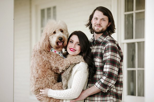 family portrait with dog,