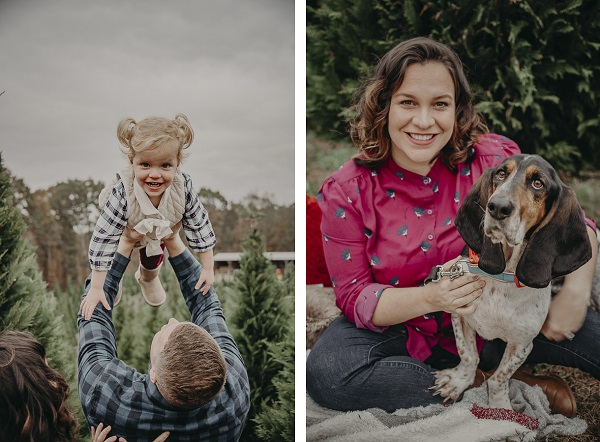 holiday family photos, dad holding little girl above his head, woman with Basset Hound on her lap,