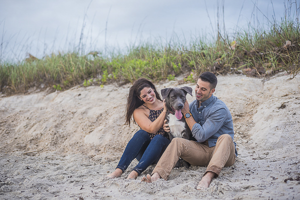 Husky-Shepherd mix sitting on sand with engaged couple, engagement pictures with dog