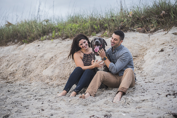 Husky-Shepherd mix on beach, engagement photos with dogs