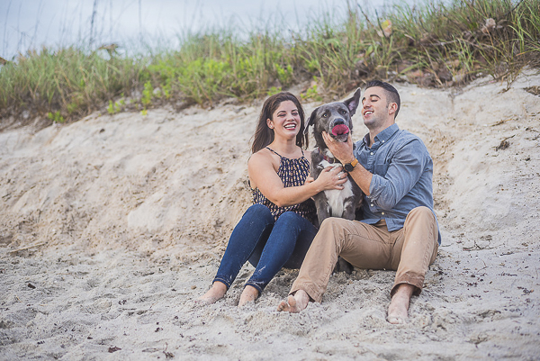 beach engagement photos, how to include your dog in engagement pictures