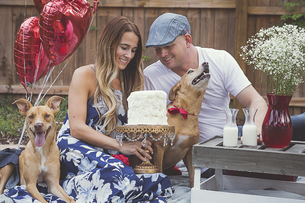 romantic one year anniversary celebration with dogs, heart balloons and cake