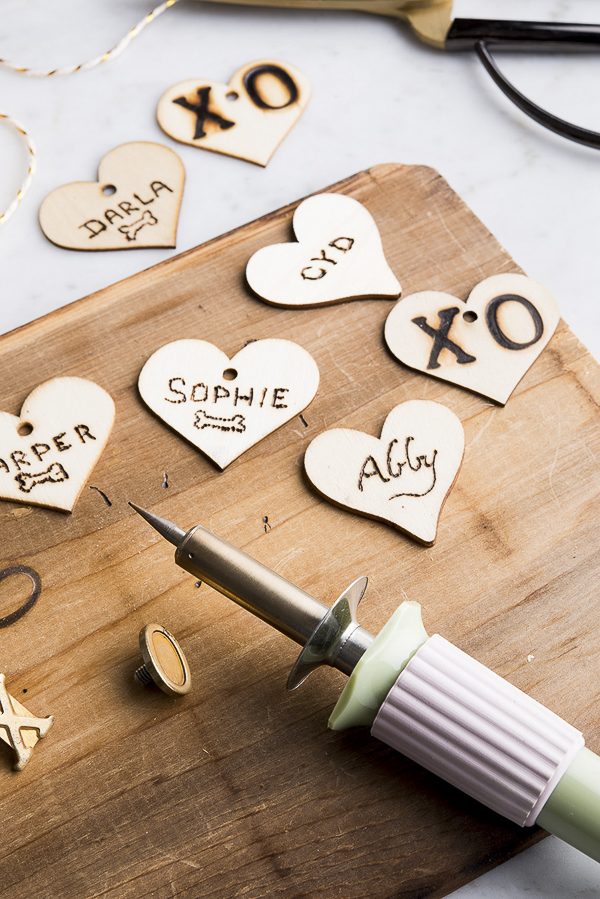 wood burning tags, Valentine's Day gift tags, Easy DIY  ©Alice G Patterson Photography –  Daily Dog Tag