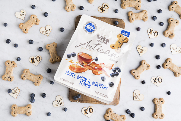 flatlay, Artisan Inspired Vita Bone Dog treats, blueberries