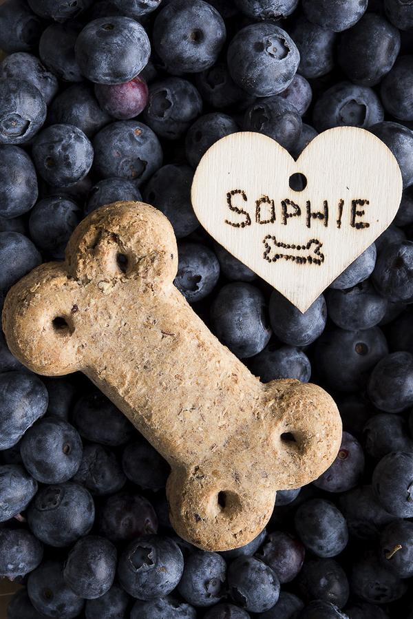 Vita Bone dog treat, blueberries, wooden tag
