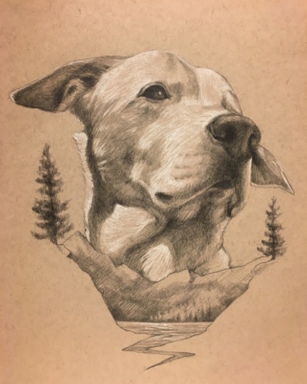 unique gift idea for dog parent, custom drawn portrait
