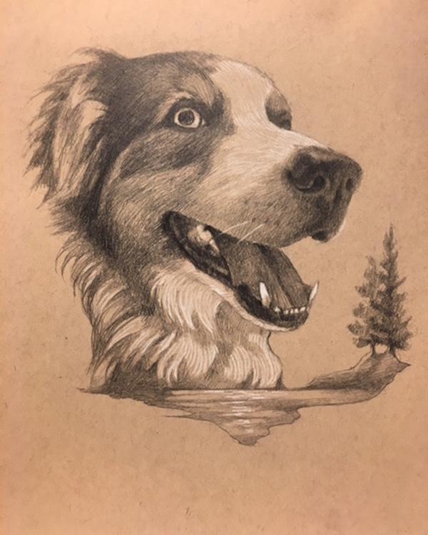 hand drawn portraits, dog, trees, water