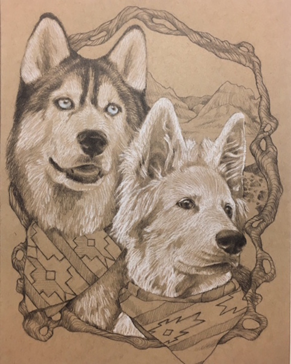 Hand drawn dog portraits, Husky and shepherd mix, gift ideas for dog lovers, Draw Dawgs