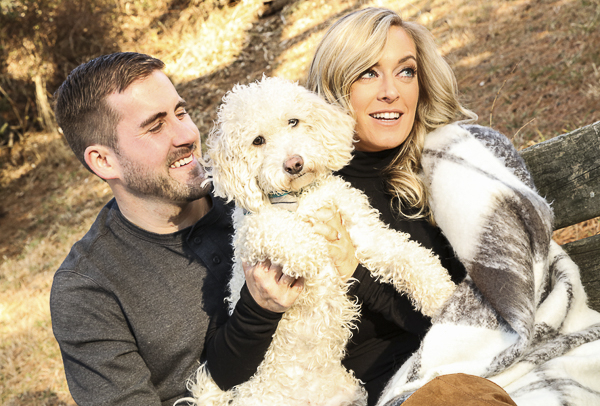 engagement photos with dog, mini Goldendoodle