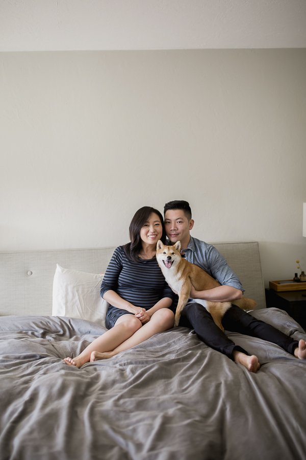 couple and dog on bed, Shiba Inu, SF family pet photography