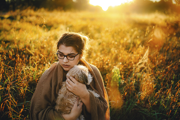 sunrise session, girl and her dog in meadow