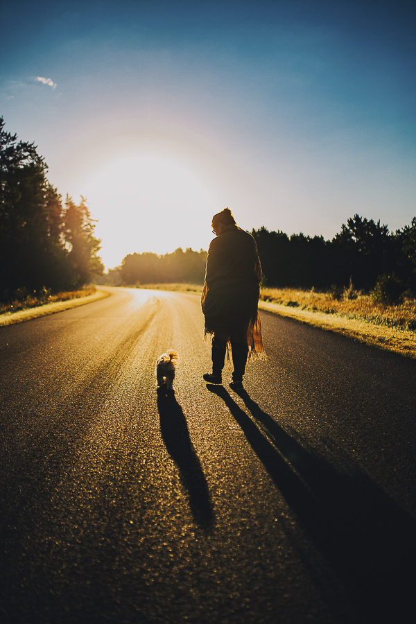 woman and small dog walking away, creative dog photography