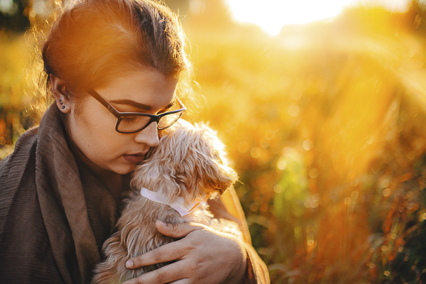 woman holding small dog, sunrise dog photography, in loving memory session
