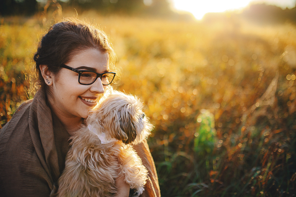 girl and her dog, sunrise lifestyle dog photography
