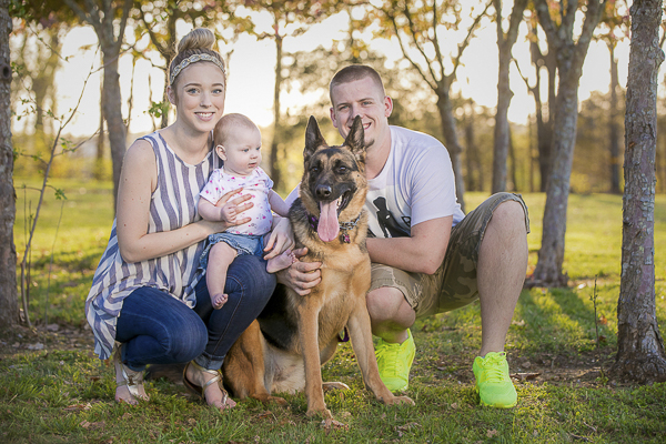 young family with baby and German Shepherd, Nashville pet portraits