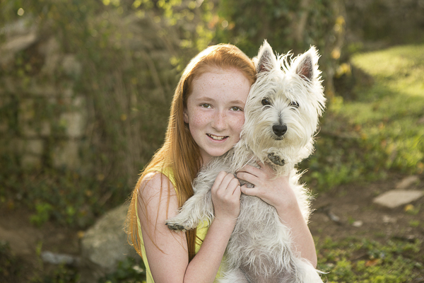 best friends forever, redhead tween holding her Westie, lifestyle pet photography
