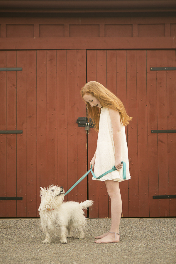Westie and red haired girl, love between a girl and her dog, lifestyle pet photography