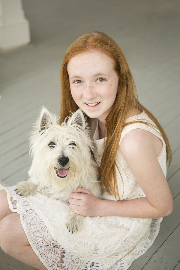 Westie, girl and her dog, red haired tween and dog