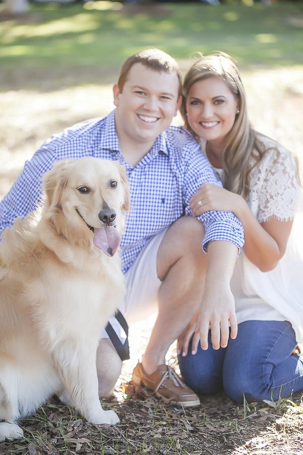 Engagement photos with Golden Retriever