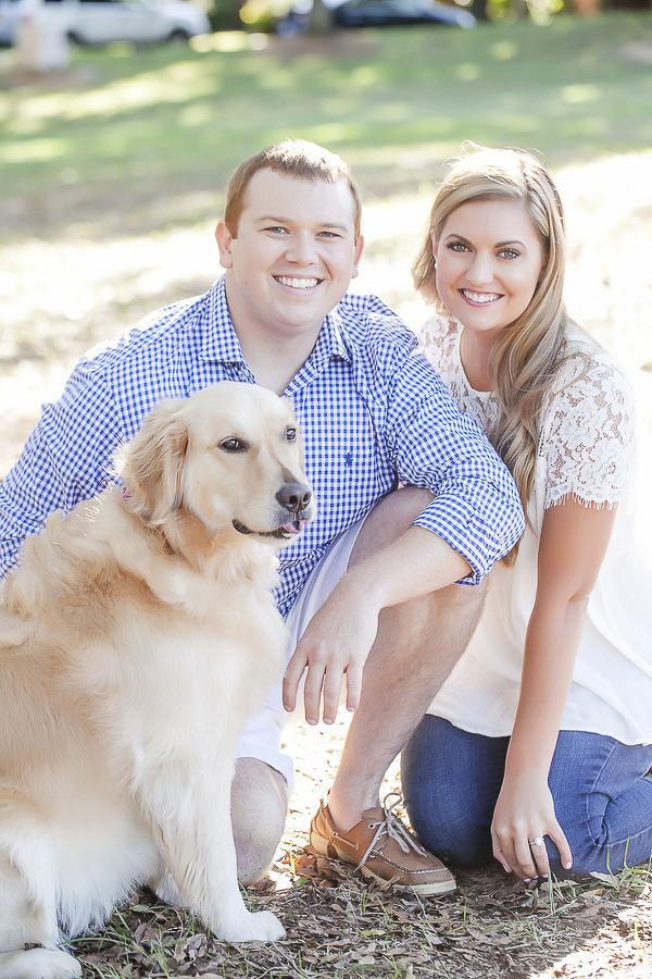 engagement pictures with dog, Golden Retriever, man in gingham shirt, woman in white lace top