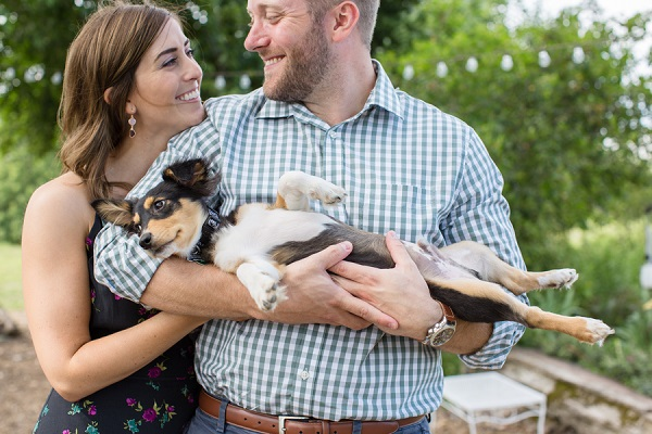 Chihuahua cross puppy, couple holding puppy in summer engagement photos