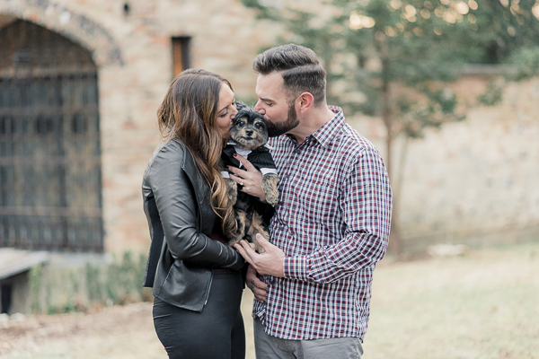 Pomeranian-Yorkshire Terrier Mix wearing Tuxedo, lifestyle engagement pictures with dog