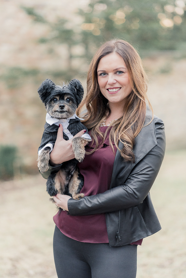 Adorable Yorkie-Pom mix wearing tuxedo. lifestyle dog pictures, woman's best friend, on location dog portraits