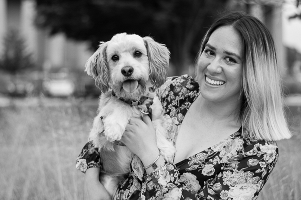 adorable Cocker Spaniel mix and his favorite person, lifestyle photography