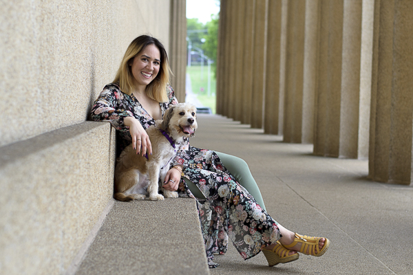 woman relaxing with dog on bench, lifestyle dog portraits, Parthenon, Centennial Park