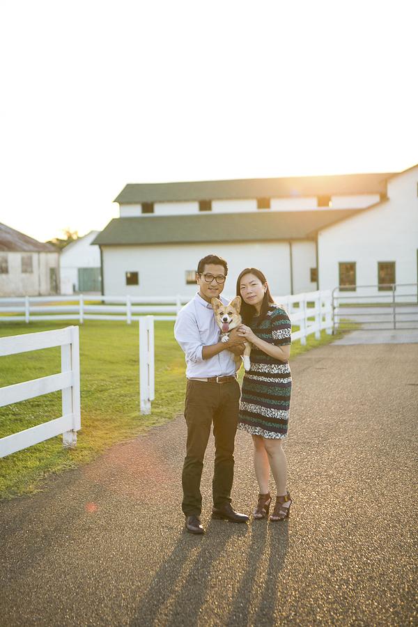 couple holding Corgi, Mandy Whitley Photography- pets and people