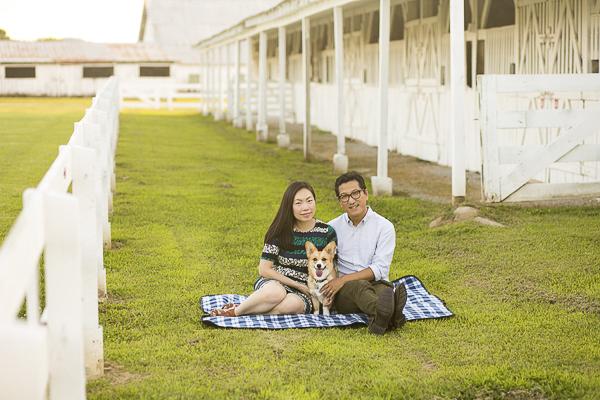 couple and dog sitting on blanket at Harlinsdale Park, Corgi