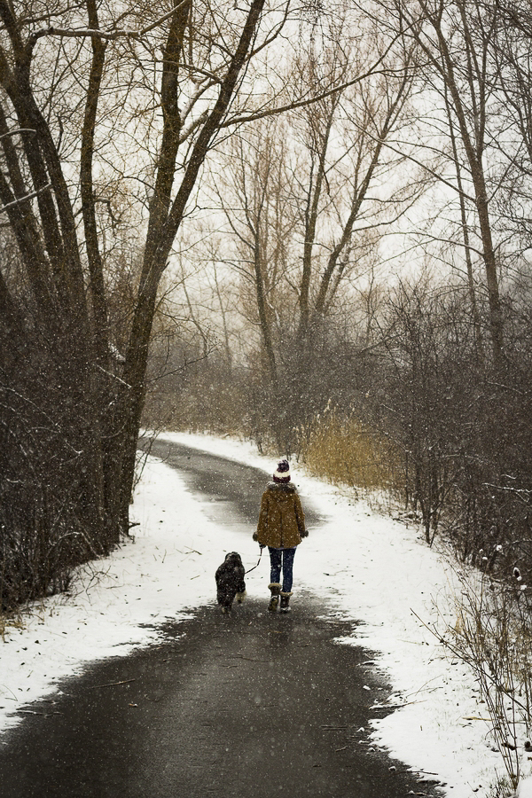 woman and dog walking down road in winter, spring snow