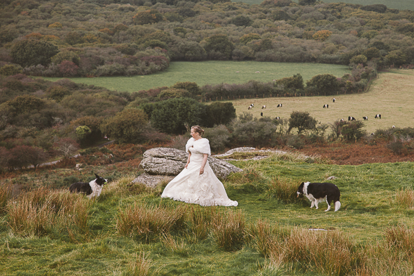 bride, dogs, gorgeous country side,