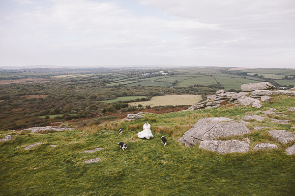 Bride and dogs Hellman Tor, Cornwall, UK
