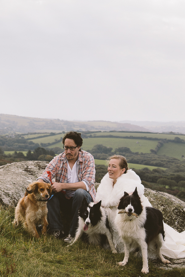 after the wedding photos with dogs, Hellman Tor, Cornwall, UK