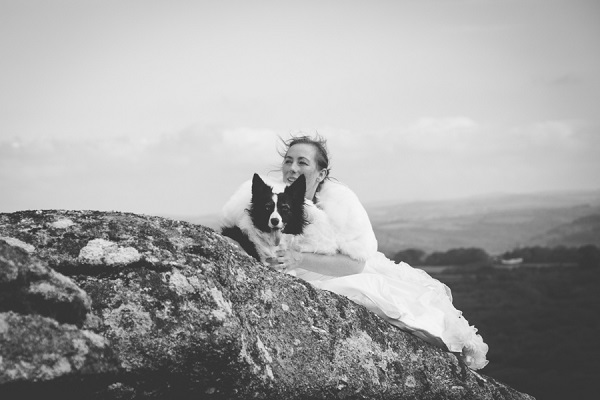 bride and her dog on rock outcrop, after the wedding photos with dogs