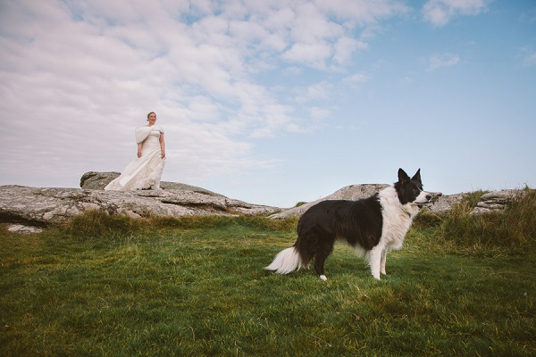 bride on large rock, dog in foreground, lifestyle wedding photos with dogs