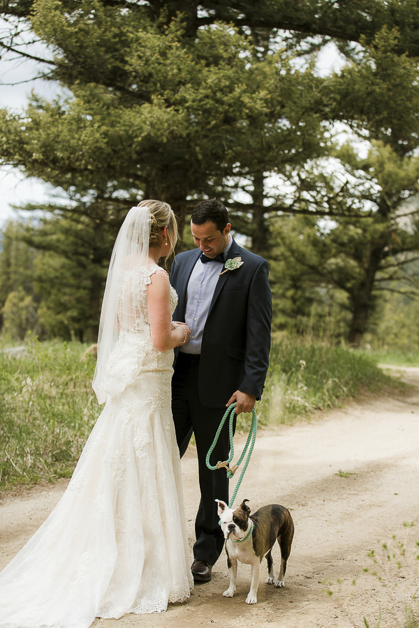 wedding dog, bride, groom and dog on dirt road, Montana wedding photography ©Elements of Light Photography