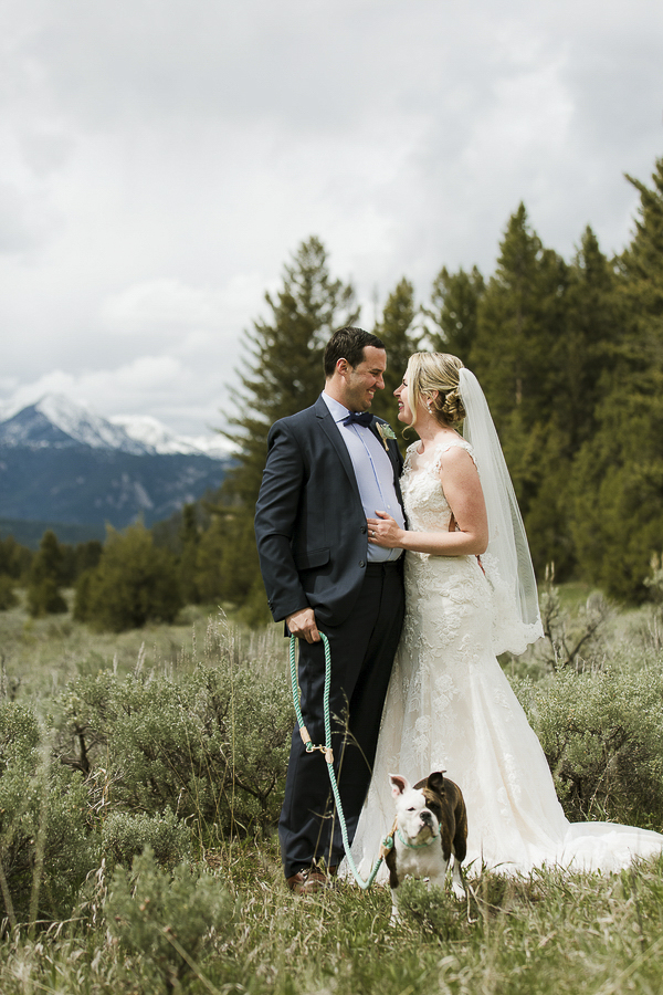 wedding dog, French bulldog mix, bride, groom in meadow, Rocky Mountain wedding ©Elements of Light Photography