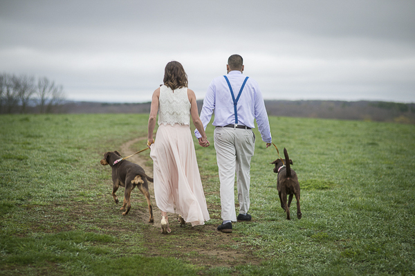 couple and dogs walking away, New Milford CT, engagement photographer