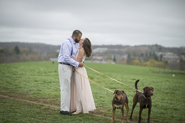 Engagement photos with dogs at UCONN, New Milford engagement photographer