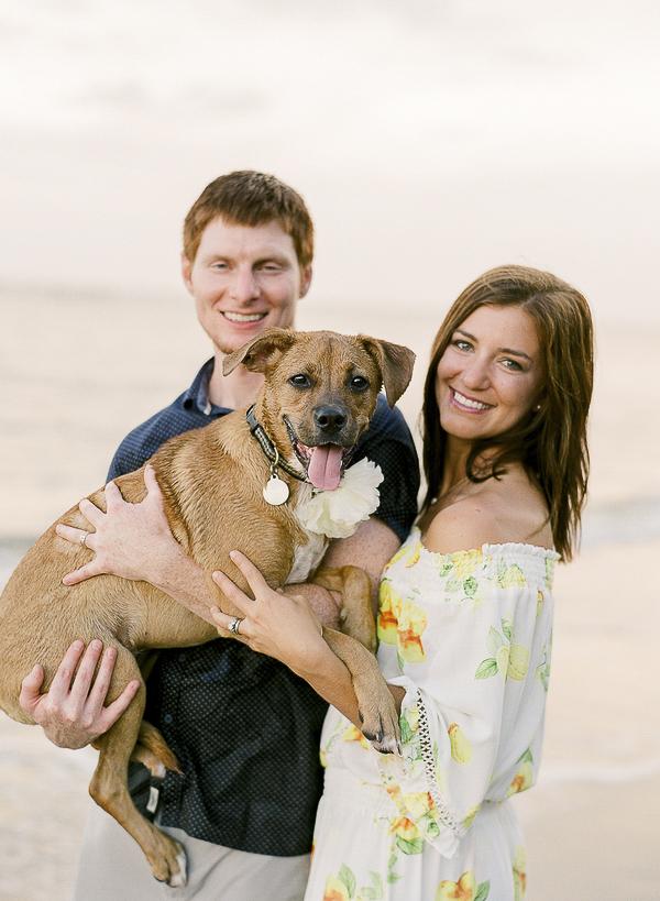 happy couple and dog on beach, lifestyle beach photography, ©Rachel Craig Photography, Charleston, SC